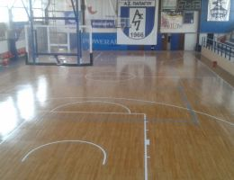 Maintenance and renovation of sports wooden floor in Papagou indoor gym