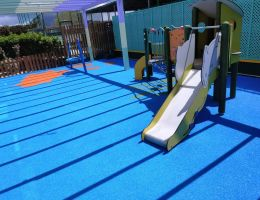 Wet pour safety surface for a playground in a luxury hotel in Kos Island