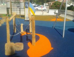 Wet pour safety surface Playtop in Episkopi Garrison, Cyprus.