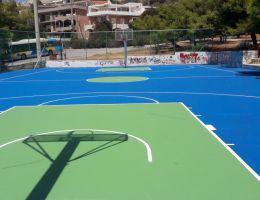Τάπητας ακρυλικών ρητινών σε γήπεδο μπάσκετ στην Βούλα Αττικής