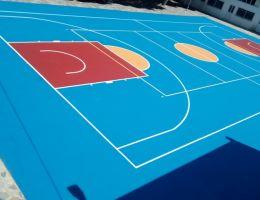 Ανακαίνιση γηπέδου μπάσκετ με σύστημα ακρυλικών ρητινών στη νήσο Άνδρο