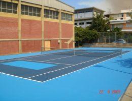 Δήμος Αγίας Παρασκευής: Επίστρωση τάπητα cushion σε γήπεδο τέννις στο Κοντόπευκο