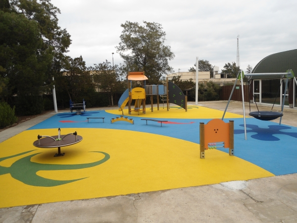 Wet pour safety surface Playtop in Ayios Nikolaos, Famagusta, Cyprus.