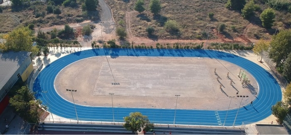 Sandwich system in a 200 m running track in Papagou Sports Center, Attica, Greece